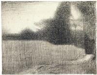 blé et arbres (le champ de blé) et portrait de félix fénéon (recto-verso) by georges seurat