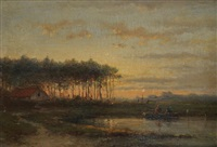 landscape with fishermen in a boat at sunset by cornelis lieste