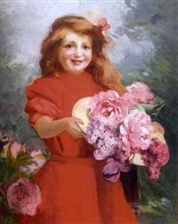 fillette tenant un chapeau à fleurs by louis adolphe tessier