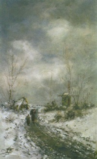 paysage flamand en hiver by jean hill