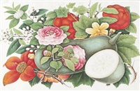 an album of seven botanical studies of flowers, fruit and vegetables, and one landscape by youqua