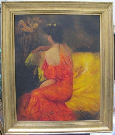 femme la robe rouge assise de dos sur un canap by. Black Bedroom Furniture Sets. Home Design Ideas