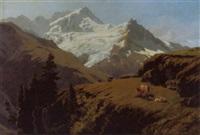 le rothorn et le glacier de moming by adrien rené lobry-visbach