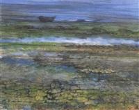 coastal landscape with boat by juvenal sanso