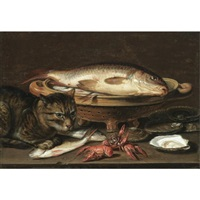 a still life with fish in a ceramic colander, oysters, langoustines, mackerel and a cat on the ledge beneath by clara peeters