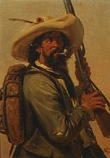 a hunter with pipe and gun by niels simonsen