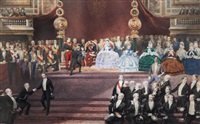 dans la salle des etats au palais du louvre, remise des récompenses par napoléon iii, aux lauréats de l'exposition universelle de londres de 1862 by jean louis david