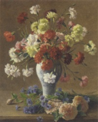 still life with carnations in a vase by francois-maurice lard