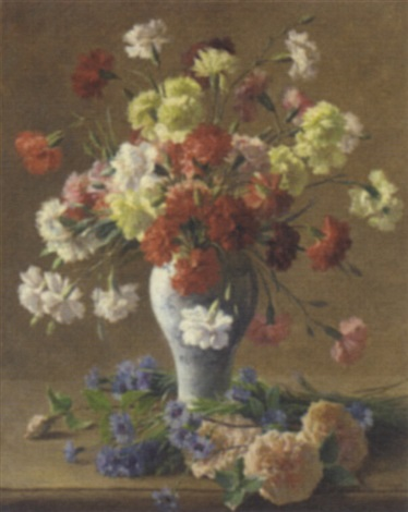 still life with carnations in a vase by francois maurice lard