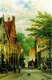 figures in a dutch town by georgius heerebaart