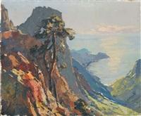 falaise en bord de mer dans le midi by pierre bach