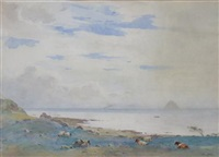 cattle grazing with the bass rock in the distance by robert little