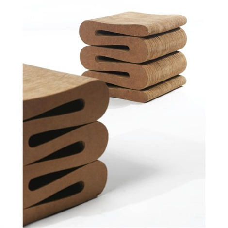 pair of easy edges wiggle stools by frank gehry