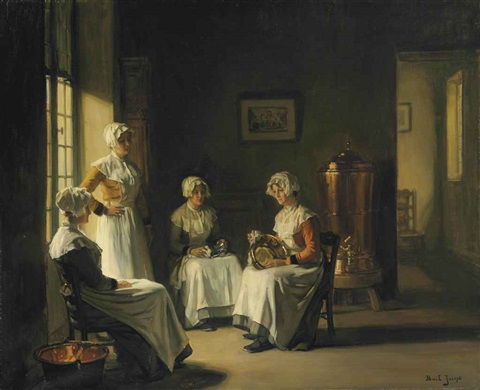 an interior with women polishing brass by joseph bail