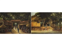 street scene and landing place, honan (2 works) by anglo-chinese school (19)