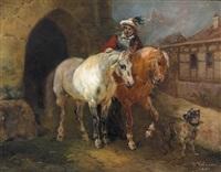 reiter mit zwei pferden und hund by joseph simon volmar
