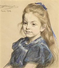 portrait of elisabeth swing, née bergh, 6 years old in a blue dress by peder severin krøyer