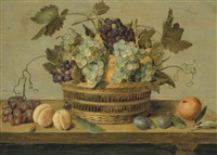 nectarines and grapes in a basket on a table, with plums, oranges, a butterfly and a beetle by jacob van hulsdonck