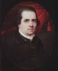 a gentleman, with short dark hair, wearing black coat, waistcoat and white cravat, crimson curtain behind by henry spicer