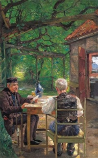 lugasban kártyázók (card players in the arbour) by ernst albert fischer