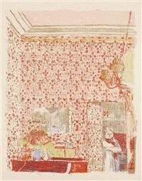 intérieur aux tentures roses, from: paysages et intérieurs by edouard vuillard