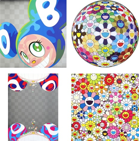 melting dob a/ flower ball (3-d) kindergarten/ flowers have bloomed/ such cute flowers (set of 4) by takashi murakami