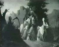 osias tocando el laud ante                 una comitiva real by giuseppe sauli