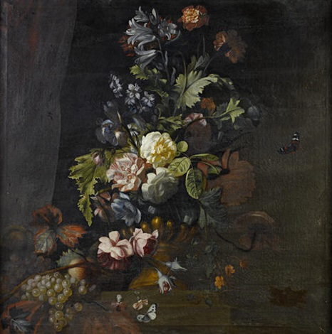 roses lilies irises and other flowers in an urn on a table ledge roses convolvulus chrysanthemum and other flowers in an urn pair by simon pietersz verelst