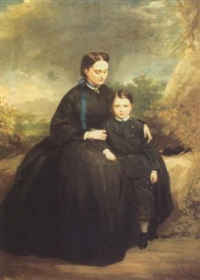 portrait of a lady with her son in a landscape by stephen catterson smith