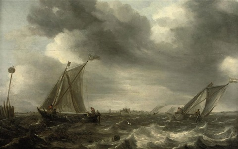 shipping in choppy waters a town in the distance by abraham van beyeren