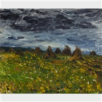 oat field under a dark sky by william goodridge roberts