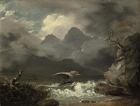 a mountainous coastal landscape with a sailing boat off a rocky shore by william hodges