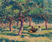 picnic in an orchard, france by frank milton armington