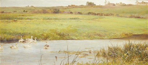 a tranquil country landscape near overton by james aumonier