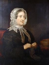 a portrait of betty wightman, half length seated and wearing a lace bonnet by richard smith