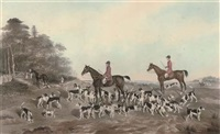 the norfolk fox hounds, with the portraits of john chapelow and henry taylor (by w.c. baker) by thomas fairland
