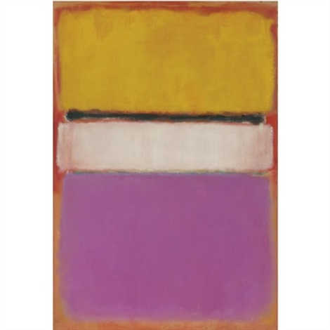 white center yellow pink and lavender on rose by mark rothko