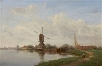 paysage au moulin by francois antoine leon fleury