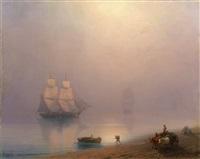 loading the ship on a calm misty morning by ivan konstantinovich aivazovsky