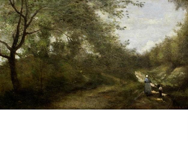 luzancy sentier ombreux avec une chevriere by jean baptiste camille corot