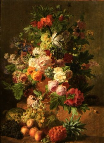 bouquet de fleurs et fruits by jan frans van dael
