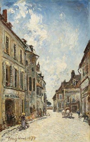 la rue saint genest à nevers by johan barthold jongkind