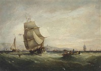 a dutch trading schooner and other shipping in the channel off st. catherine's point, isle of wight by george webster