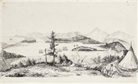 a naval encampment overlooking an anchorage in the indian ocean by charles alexander lesueur
