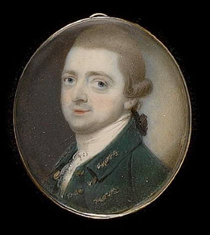 a gentleman wearing green coat and waistcoat trimmed with gold braid and white stock his powdered hair worn en queue by thomas day
