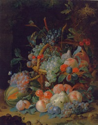 grapes, cherries, plums, raspberries, tangerines, apples, oranges, peaches, pears, apricots and ears of corn in a basket by coenraet (conrad) roepel