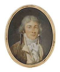 a young gentleman, in striped coat, ochre waistcoat and tied white cravat, powdered hair (+ 2 others; 3 works) by jacques antoine marie lemoine