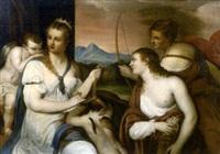 vénus bandant les yeux à l'amour (after titian) by alexandre-francois caminade