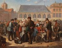 de vogelmarkt op de nieuwe markt te rotterdam met talrijke figuren by jacob akkersdijk
