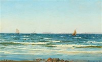 coastal scene with sailing and steam ships by carl ludvig thilson locher